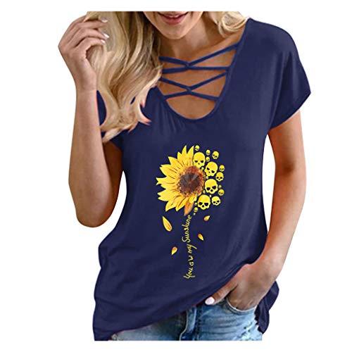 Colmkley Mens Short Sleeve Skull Print Crew Neck T-Shirt Summer Casual Blouse