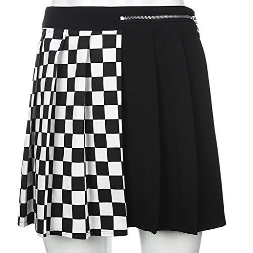 XJJZS Mini Falda Plisada de Mujer Alta, Patchwork A-Line Falda, Vestido de Calle, Color sólido Vestido de Fiesta de Mujer (Size : Large)