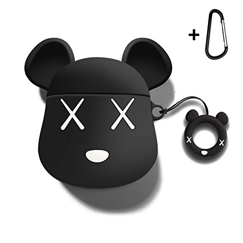 MOLOVA Case for Airpods Case,AirPods 2 Case,Airpods Accessories,Airpods Skin, Cute Cartoon Bear Shock Proof Cover Compatiable with Apple AirPods Wireless Charging Case with Ring Rope Keychain (Black)