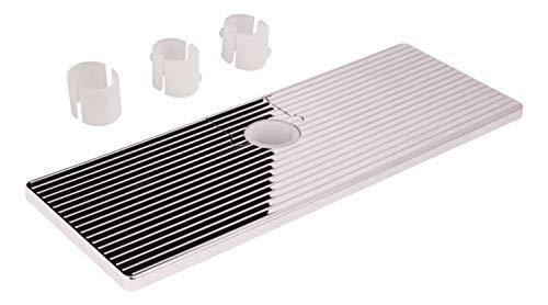 aquaSu® Ablage für Brausestange| Duschablage 25 x 9,5 cm | für Duschstangen mit Ø 18, 20, 22 oder 25 mm | Kunststoff | chrom | 72372 5