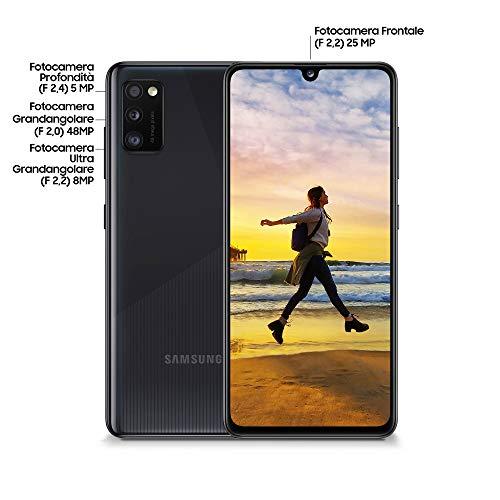 Samsung Galaxy A41, Smartphone, Display 6,1 Zoll (ca. 15,5 cm), Super AMOLED, 3 Rückkameras, 64 GB erweiterbar, 4 GB RAM, 3500 mAh, 4G, Dual SIM, Android 10, 151 g, italienische Version, schwarz