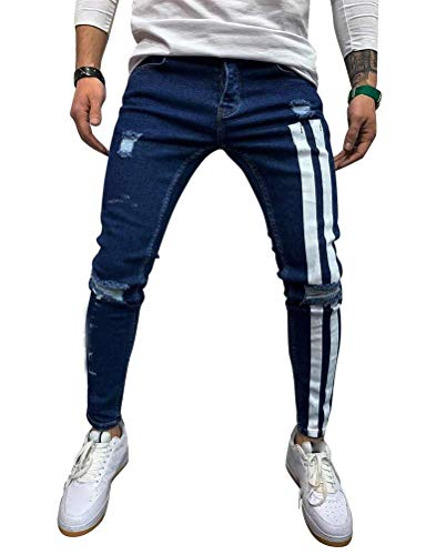 IDEALSANXUN Ripped Skinny Stretch Jeans for Mens Striped Slim Fit Tapered Leg Jeans Denim Pants (30, Blue)