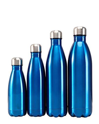 Edelstahl Trinkflasche Vakuum Isolierte Wasserflasche -doppelwandige Thermosflasche 24 Stunden Kühlen & 12 Stunden Warmhalten Sportflasche für Laufen Camping, Arbeit,Blau,500ml