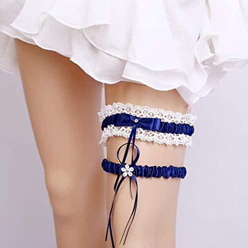 Juego de 2 ligueros de encaje para novia con liguero de encaje hecho a mano, ligueros de encaje de boda, liguero azul elástico para accesorios de boda