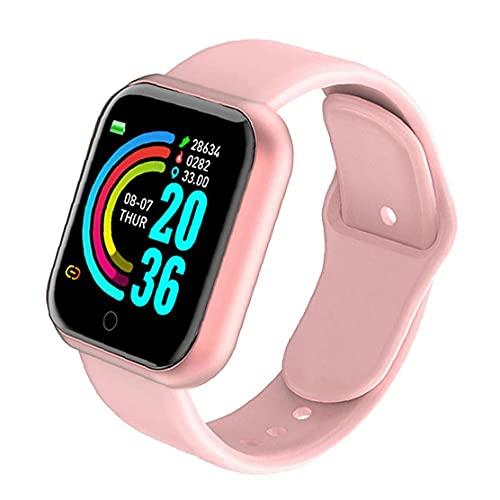 Eaarliyam Smart Watch Y68 Prueba de frecuencia cardíaca Impermeable Pantalla Reloj de Aptitud para Hombres Mujeres compatibles con Andriod iOS Pink