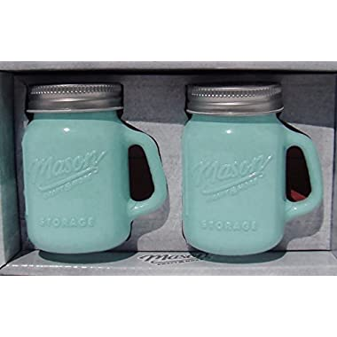 Mason Jar Salt and Pepper Shaker - Milk Glass Green