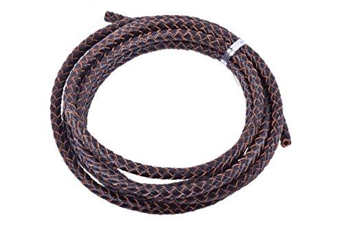 KONMAY - Cordones de cuero de varios tamaños y colores, redondos, trenzados, originales, para diseños de joyería y artesanía
