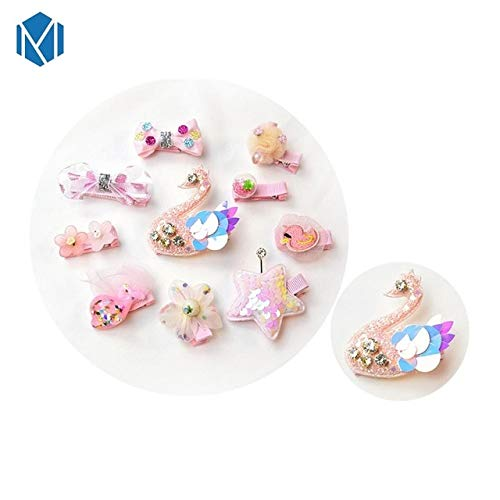 Utini Cute Children Laser Hair Clips Set Fashion Girls Hair Accessories Cute Princess Hairpins Best Gifts - (Color: Zircon Swan)