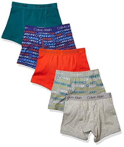 Calvin Klein Grey Boy's Kids Modern Cotton Assorted Boxer Briefs Underwear, Multipack, Red, 5 Pack