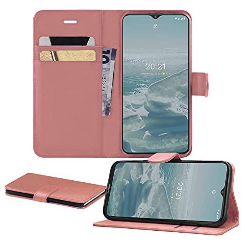 iPro Accessories Funda para Nokia G20, funda para teléfono Nokia G20, piel sintética de alta calidad, con ranuras para tarjetas, función atril, cierre magnético, para Nokia G20 (oro rosa)