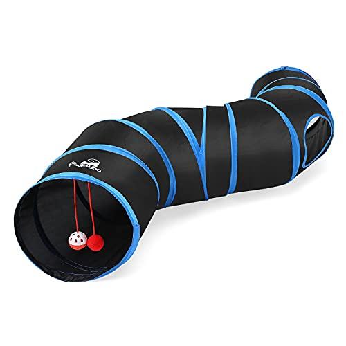 Pawaboo Túnel de Gato, Plegables Túneles de Tubo en Forma de S, Juguete Interactivo con Pompon y Campanas para Gato - Negro y Azul de Cielo