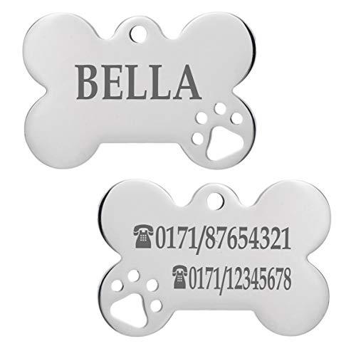 Iberiagifts - Hundemarke Knochen mit Pfoten aus Edelstahl mit Gravur für kleine bis mittelgroße Hunde und Katzen - Plakette graviert und personalisiert (Mit 1 Pfote)
