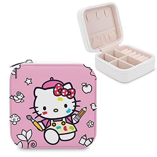 Hello Kitty - Caja de almacenamiento para joyas con compartimento para la gestión del hogar, viajes, pendientes y collar de moda