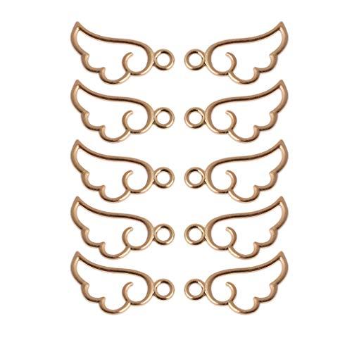LEEleegang 10 Uds. Colgante de Marco de Metal con ala de ángel Ajuste de Bisel Abierto joyería de Resina UV Marco de Metal con ala de Ángel