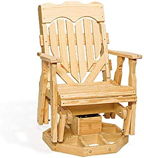 Peaceful Classics Wooden Rocking Chair Glider Amish Furniture | Heart Design High Back Rocker Swivel Glider