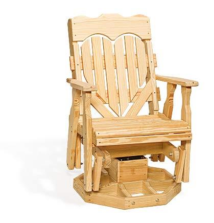 Peaceful Classics Wooden Rocking Chair Glider Amish Furniture   Heart Design High Back Rocker Swivel Glider