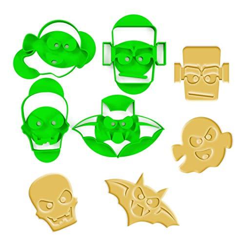 3DREAMS 4-częściowy zestaw foremek do wycinania ciastek na Halloween, nietoperz, kształt ducha Frankenstein potwór, szkielet z 2 przepisami na bio-tworzywo sztuczne, Made in Germany