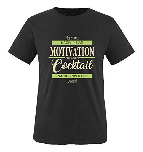 Comedy Shirts - Manchmal läuft Meine Motivation mit einem Cocktail nackig über die Wiese - Herren T-Shirt - Schwarz/Beige-Hellgrün Gr. XL