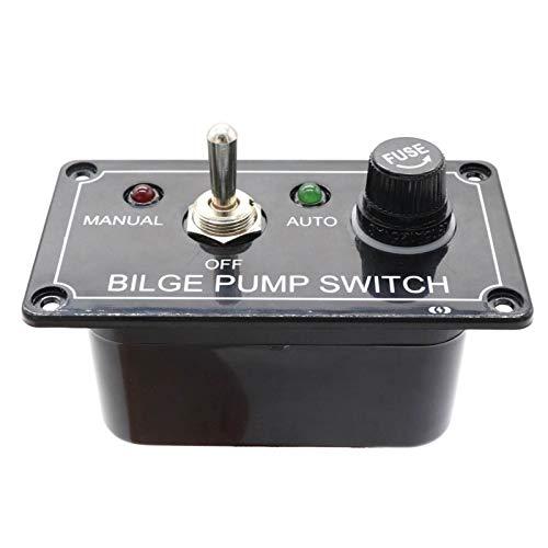 JOMOSIN QICHE25 - Panel de interruptor de bomba de sentina con indicador LED de 3 vías con fusible DC12 V, panel de interruptor de palanca de carcasa manual para RV marítimo barco automotriz