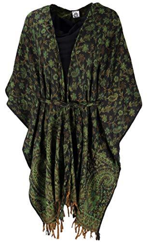 GURU SHOP Flauschiger Kimono Mantel, Kimonokleid, Kaftan, Damen, Grün/schwarz, Synthetisch, Size:40, Boho Jacken, Westen Alternative Bekleidung