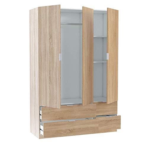 Habitdesign LCX453F - Armario Ropero 3 Puertas y 4 Cajones, Armario Habitación Dormitorio, Medidas: 200 cm (Alto) x 135 cm (Ancho) x 52 cm (Fondo)