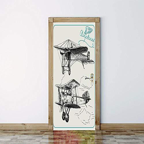 Schets tekenen Rechte vliegtuig Cloud Letter 3D Deur Sticker Creatieve Home Decoratie Woonkamer Slaapkamer Jongen Kamer Verwijderbare Vinyl PVC muurschildering 95x215cm