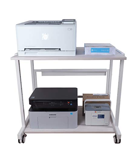 NEUN WELTEN Supporto per Stampante Legno 80 x 60 x 70 cm (L x L x A), Mobile Tavolo Porta PC Scaffale Regolabile in Altezza (Model 1)
