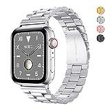 bandmax Armband für Apple Watch, Edelstahl Gliederarmband Ersatzarmband mit Metallschließe Wrist...