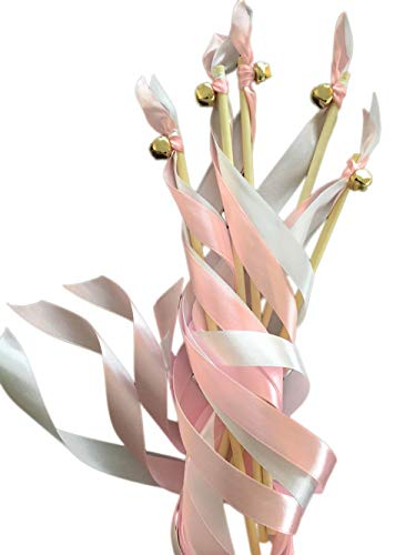 EinsSein 20x Wedding Wands Liebeszauber rosa Spalier Hochzeit Glücksstäbe Stäbe Spitze rund Kirche runde Holzstäbe Glöckchen Konfetti Standesamt Holz