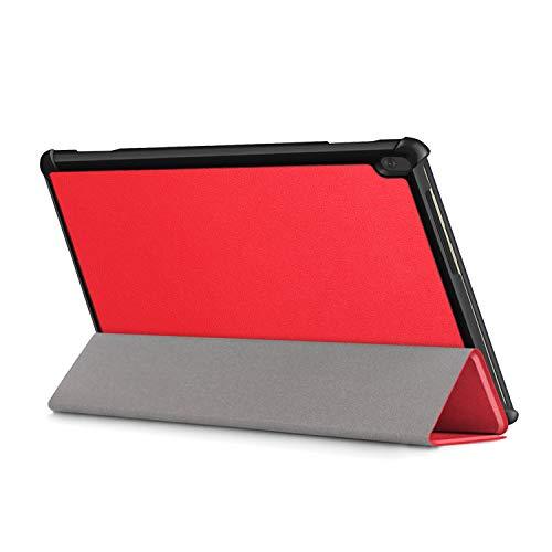 XITODA Hülle Kompatibel mit Lenovo Tab M10 TB-X605/TB-X505,PU Leder Tasche mit Stand Funktion Schutzhülle für Lenovo Tab M10 TB-X605F/L TB-X505F/L Case Cover,rot