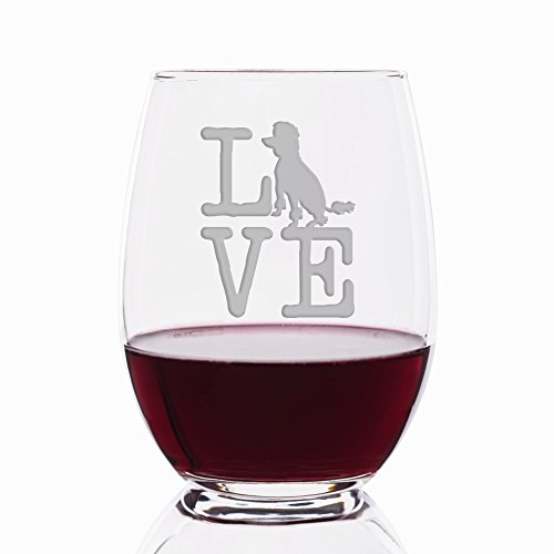 Love Poodle Engraved Stemless 21 oz Wine Glass
