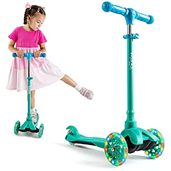 KicksyWheels Scooters for Kids - 3 Wheel Toddler Scooter for Boys & Girls - Toddlers and Kids Toys for 1 Year Old and Up - Three Heights & Light Up Wheels  Pacific Teal w/o seat