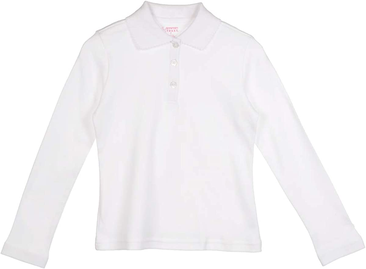 French Toast Big Girls' L/S Fitted Knit Polo With Picot Collar - white, 7/8