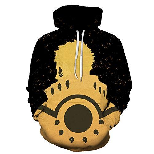 HYCR NARUTO - Sudadera con capucha para adultos, diseño de playeras en 3D con anime japonés Naruto, soporte para anime NARUTO 2-4XL