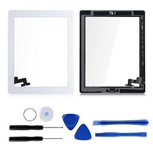 Für Apple iPad 2 Screen-Digitizer Glass Replacement mit Home Button und Werkzeuge zur Reparatur (Weiß)