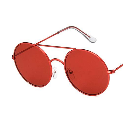 Gafas De Sol Gafas De Sol Redondas De Metal Vintage para Mujer, Gafas De Sol con Personalidad, Gafas De Sol para Mujer, Uv400 C2Fullred