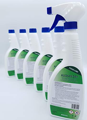 Igienizzante spray Alcosandry sanificante multiuso Pofessionale senza risciacquo 750ml - Confezione 6 pezzi - SCHEDA TECNICA INCLUSA per settore B2B - Deterdem Shop