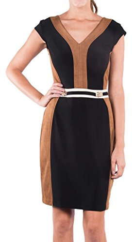 Joseph Ribkoff Black & Brown Faux Suede Belted Dress Style 164449 -  Brown -