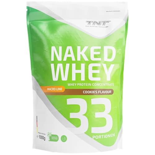 TNT Naked Whey + Laktase • 1kg Whey Protein-Pulver Konzentrat • Eiweißpulver (Keks)