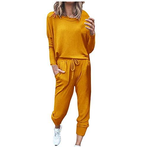 Conjunto De Pantalones De CháNdal para Mujer, De Dos Piezas, Color SóLido, Informal, De Manga Larga, Ropa Deportiva