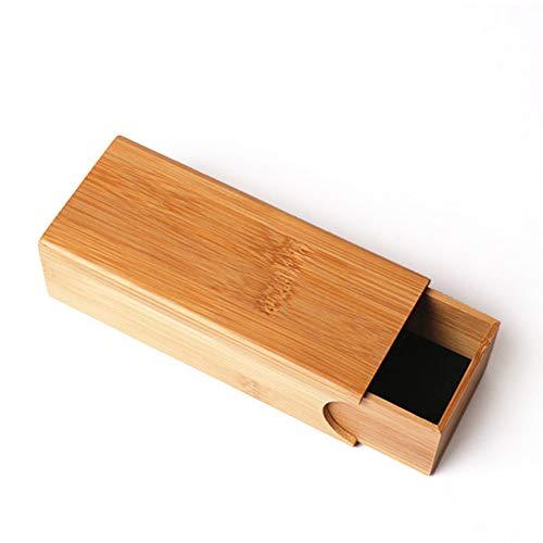 TOOSD Sonnenbrillen Etui, Bambus Holzbox für Sonnenbrillen, Brillenetui, tragbare Reise-Brillenetui aus Holz (Gläser sind Nicht enthalten),E