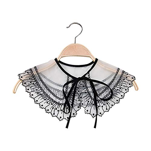 Vaeiner Afneembare Kraag, Koreaanse Vrouwen Meisje Lace Up Bowtie Nep Kraag Hollow Out Haak Bloemenkant Chiffon Choker Blouse Jurk Sweater Decoratieve Sjaal