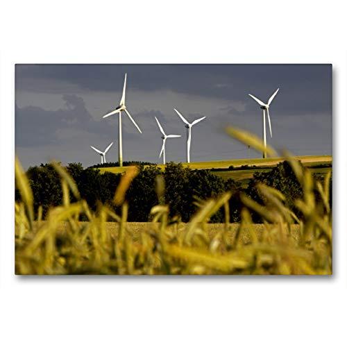 CALVENDO Premium Textil-Leinwand 90 x 60 cm Quer-Format Landschaft mit Windkraftanlagen, Leinwanddruck von Martina Berg