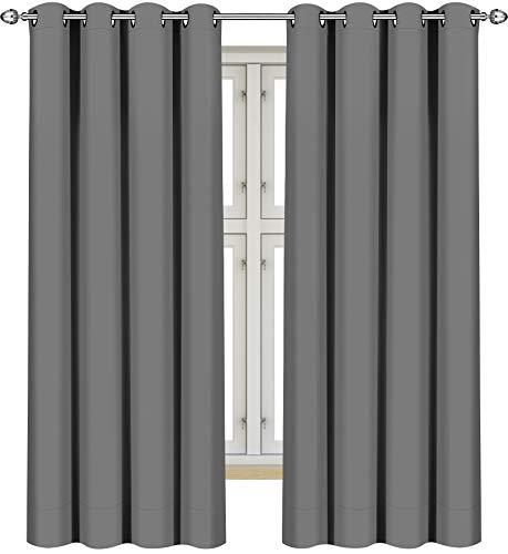 Utopia Bedding Vorhang - 2 Stück - Verdunkelungsvorhang, wärmeisolierende Fenstervorhänge / -verkleidung (Grau, 175 x 140 cm)