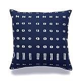Hofdeco African Mudcloth Pillow Cover ONLY, Indigo Shibori Inspired Print B, 18'x18'