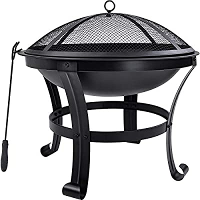 PovKeever Outdoor, garden, patio fire pit, fire bowl, heater, BBQ grill, metal brazier with poker, grate, mesh cover, ?56 cm from PovKeever
