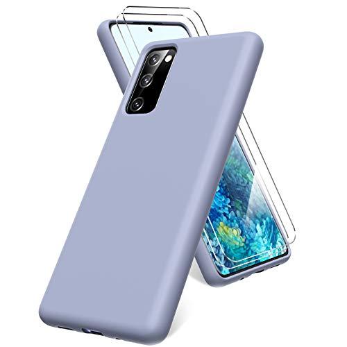 Oududianzi Cover per Samsung Galaxy S20 Fe 4G/5G, 2 Pellicola Protettiva in Vetro Temperato, Gomma Gel di Silicone Liquida Antiurto Custodia - Grigio Lavanda