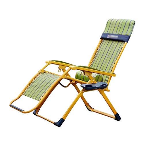 Fauteuil inclinable Pliant Garden Beach Chaises de Pont Chaise Longue Sun Relaxant Relaxant Zero Gravity avec Oreiller Lombaire et Porte-gobelet