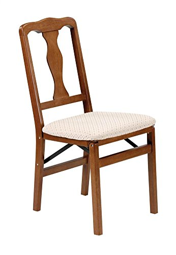 Queen Anne Wood Folding Chair in Warm Fruitwood Finish - Set of 2