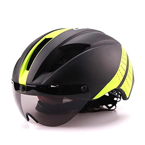Yuan Ou 280g Aero Ultra-leggero Goggle TT Road Bicicletta Casco In-Mold Racing Ciclismo Bici Sport Sicurezza Time-Trial Ciclismo Casco L 57-61cm nero verde 1 lente